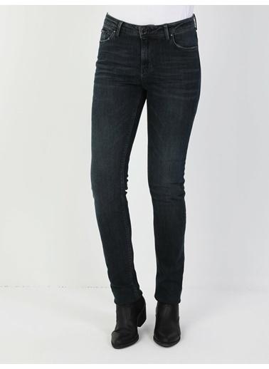 Colin's 703 Carla Orta Bel Düz Paça Slim Fit Koyu Mavi Kadın Jean Pantolon İndigo